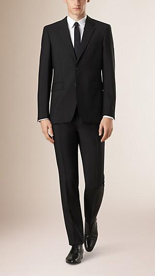Modern Fit Wool Mohair Part-canvas Suit