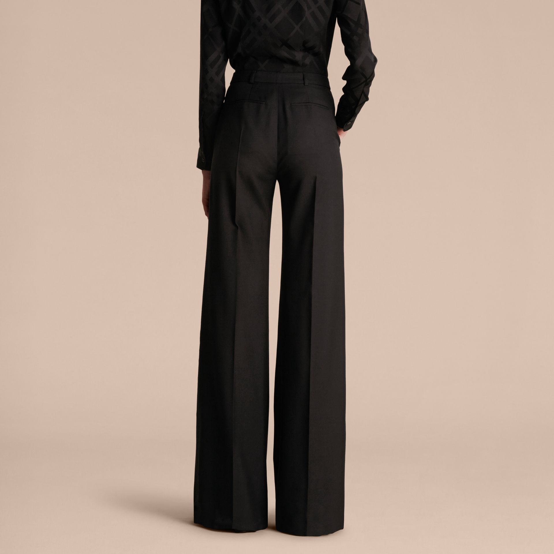 Black Wide-leg Wool Trousers - gallery image 3