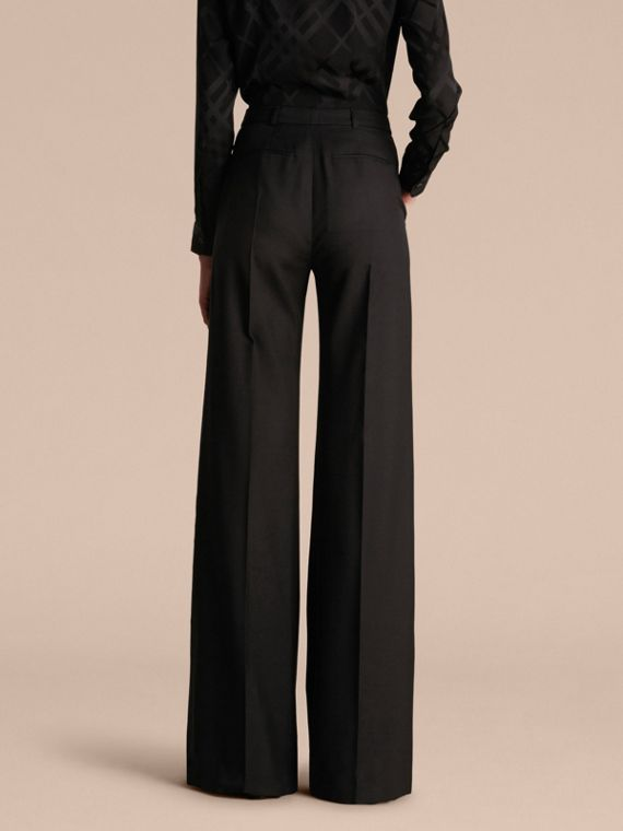 Black Wide-leg Wool Trousers - cell image 2