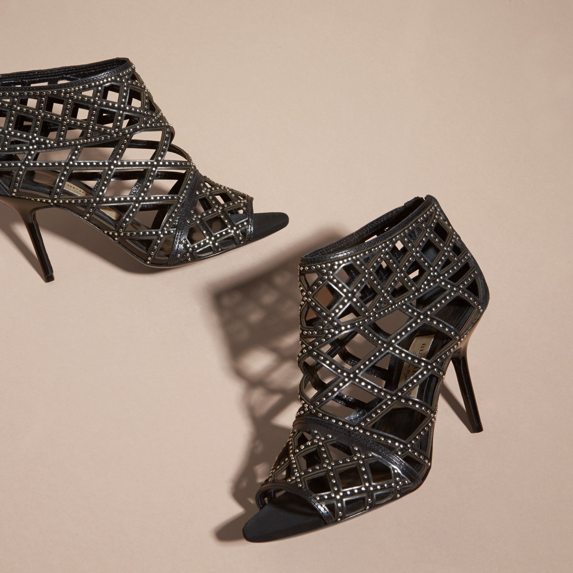 Black Cut-out Leather and Stud Ankle Boots - gallery image 3