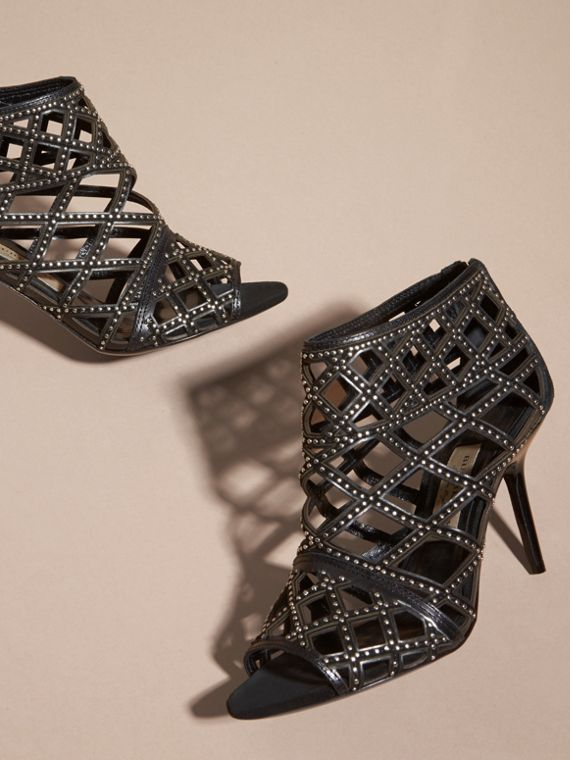 Black Cut-out Leather and Stud Ankle Boots - cell image 2