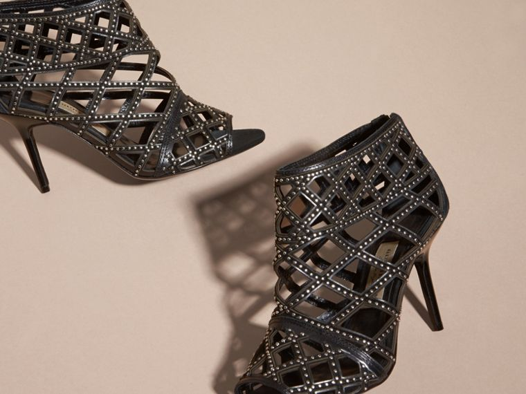 Cut-out Leather and Stud Ankle Boots