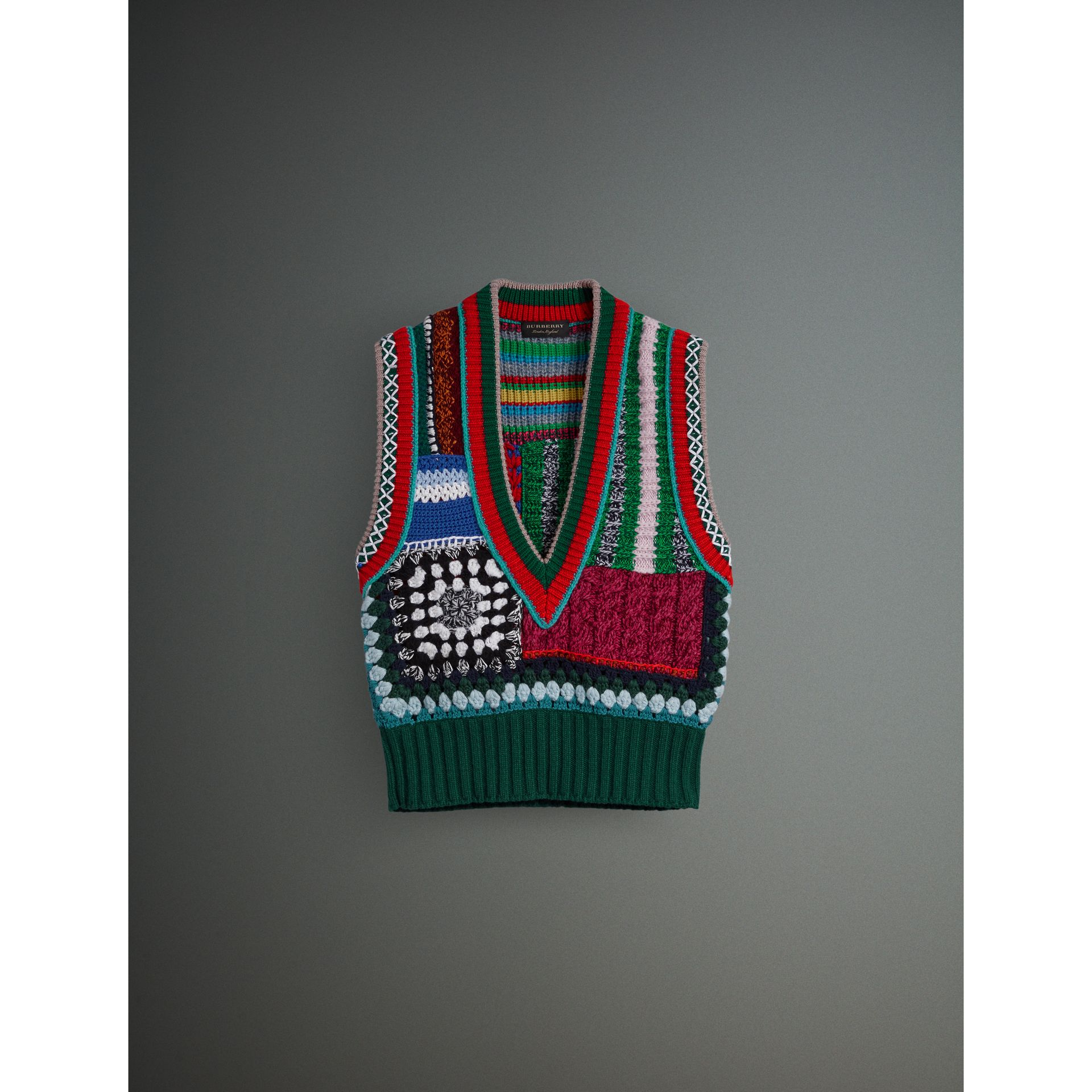 Hand-embroidered Wool Cashmere Blend Tank Top in Multicolour - Women | Burberry United States - gallery image 3
