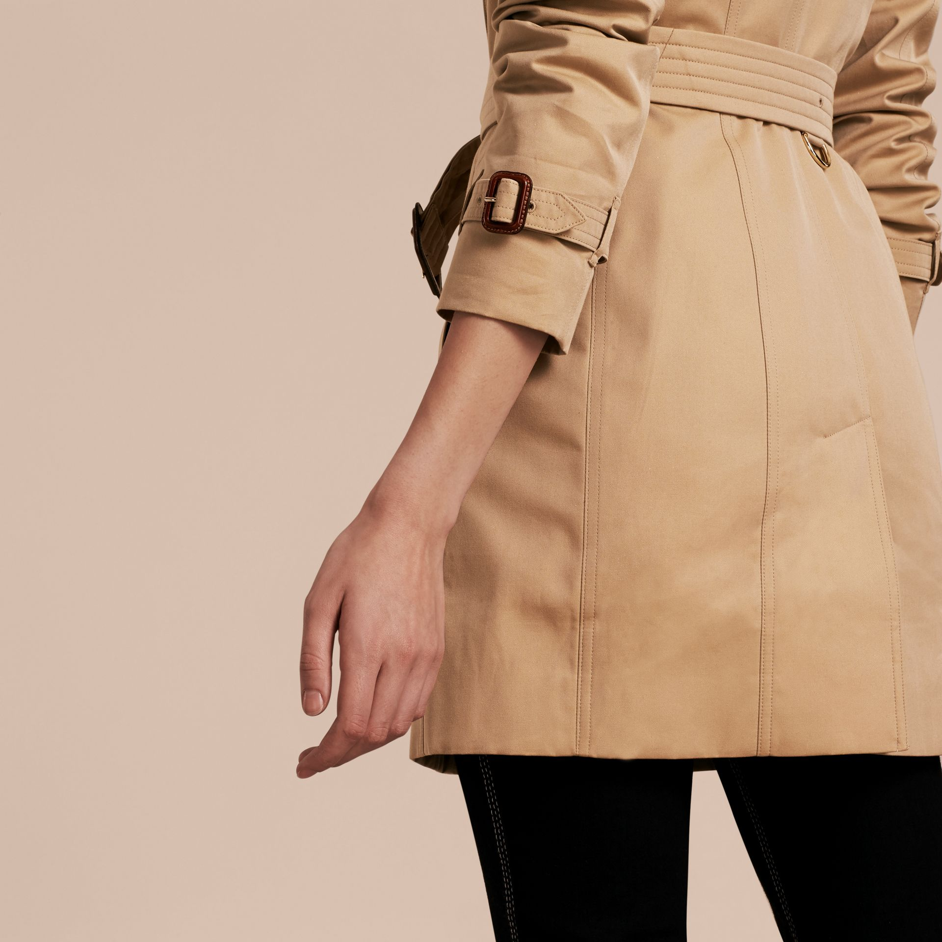 Honey Leather Trim Trench Coat with Detachable Shearling Collar - gallery image 6
