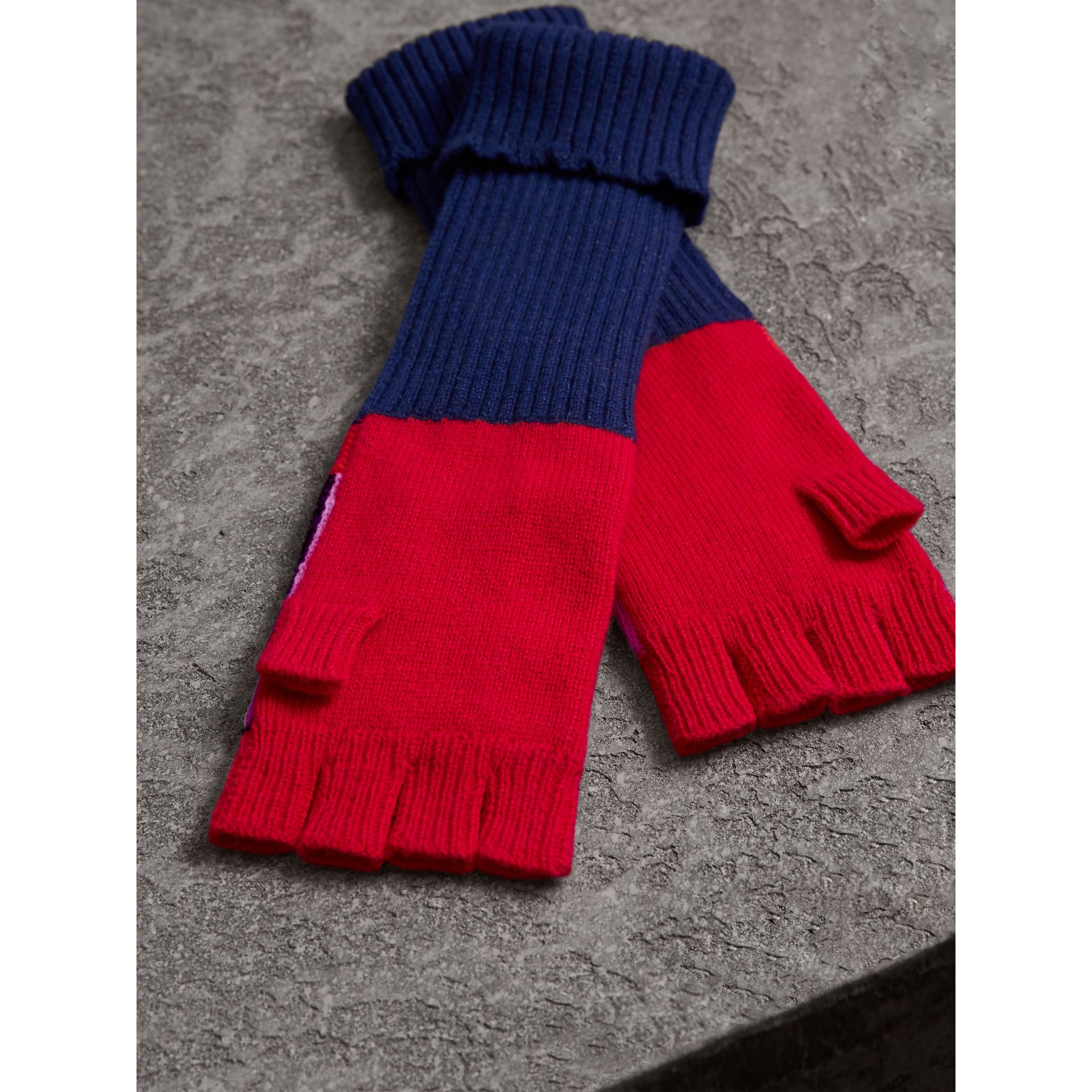 Cashmere Wool Blend  Fingerless Patchwork Gloves in Coral Red | Burberry - gallery image 2