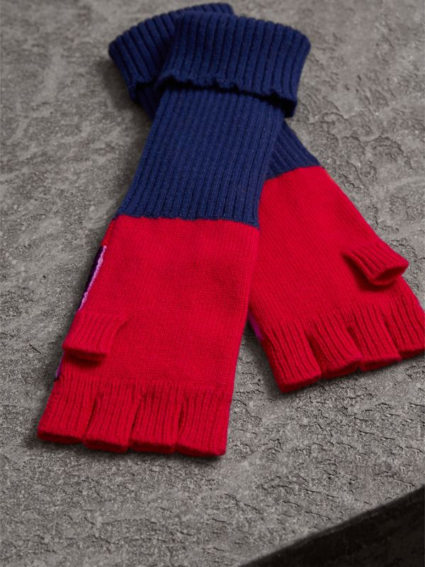 Cashmere Wool Blend  Fingerless Patchwork Gloves in Coral Red | Burberry United Kingdom - cell image 2