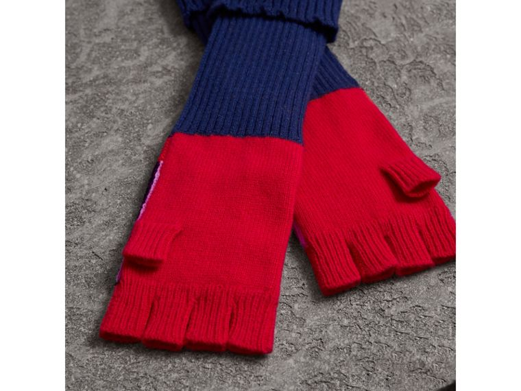 Cashmere Wool Blend  Fingerless Patchwork Gloves in Coral Red | Burberry - cell image 2
