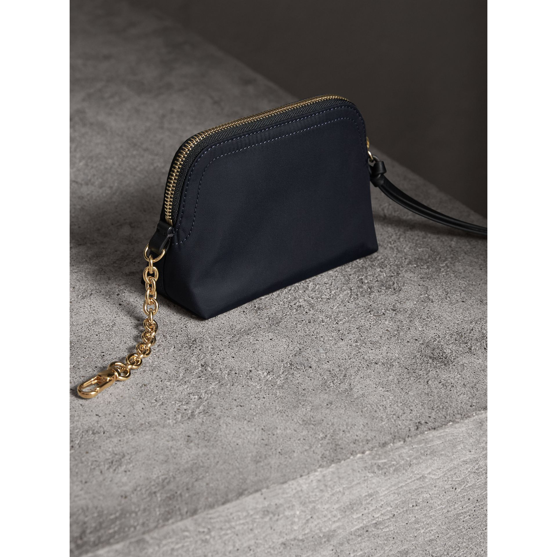 Small Zip-top Technical Nylon Pouch in Ink Blue - Women | Burberry Canada - gallery image 3