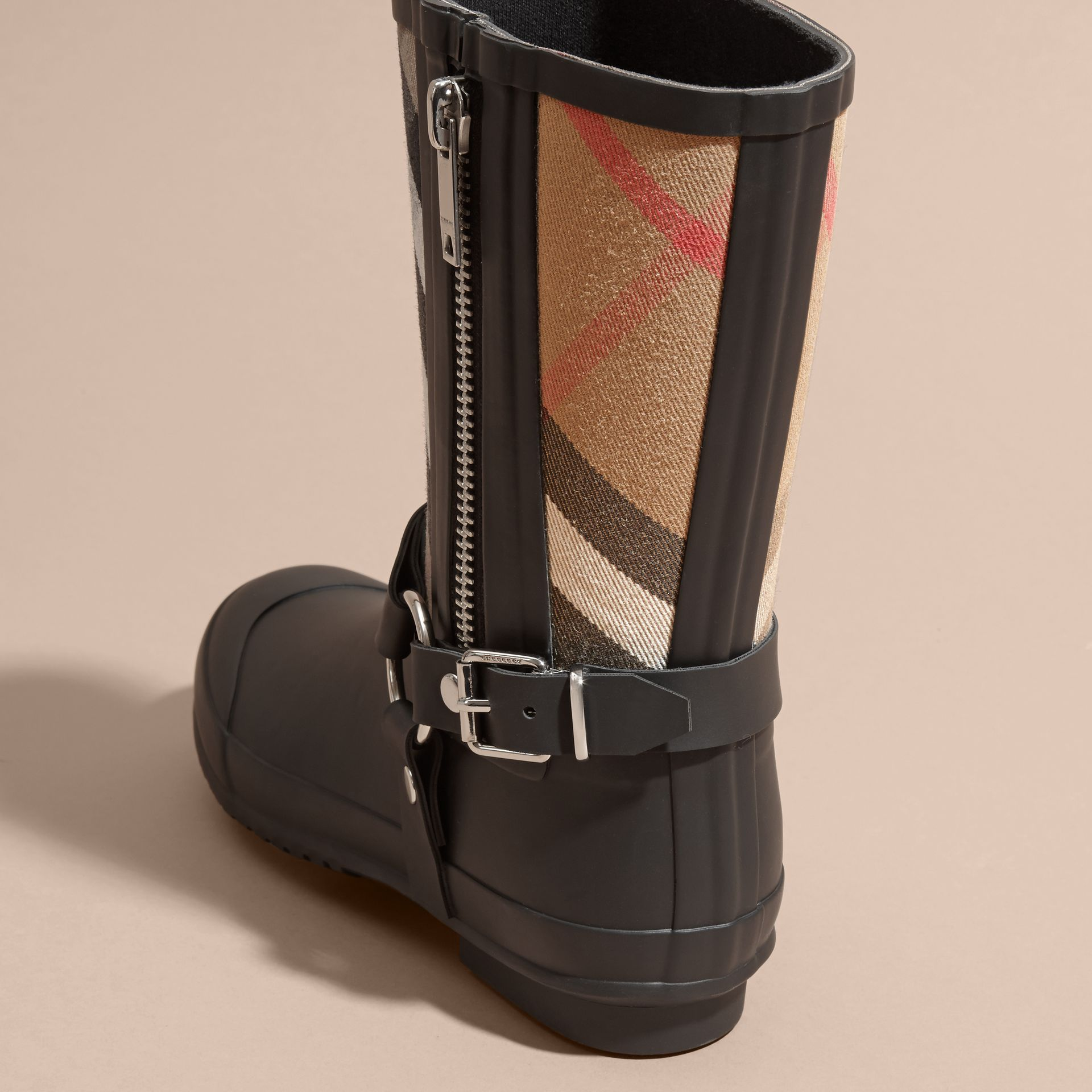 Buckle and Strap Detail Check Rain Boots - gallery image 4