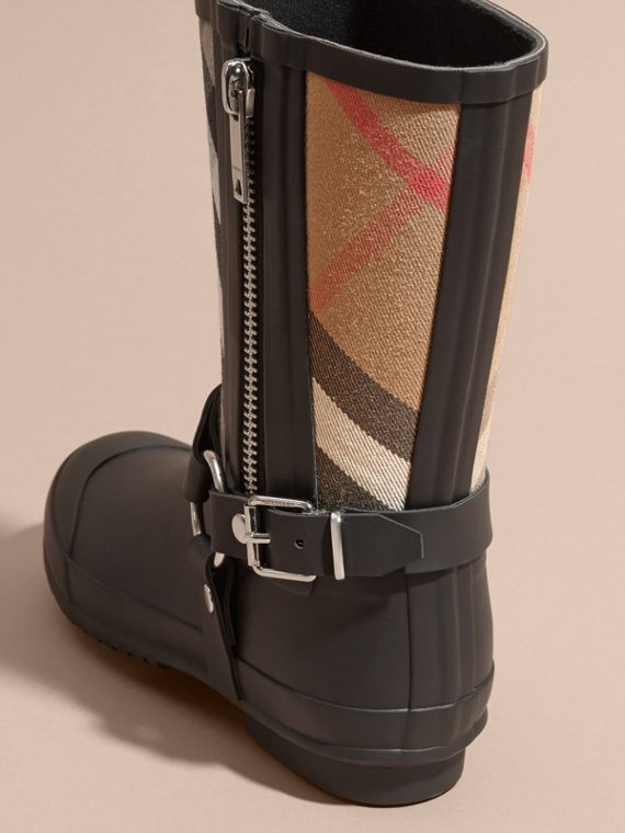 Buckle and Strap Detail Check Rain Boots House Check/black - cell image 3