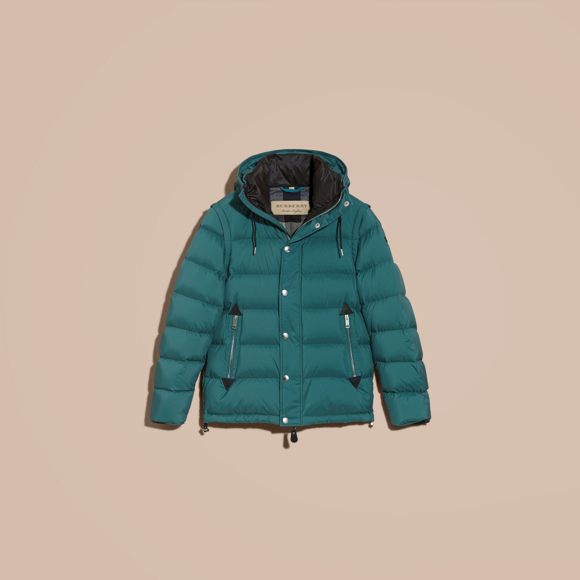 Dusty teal Down-filled Hooded Jacket with Detachable Sleeves Dusty Teal - gallery image 4