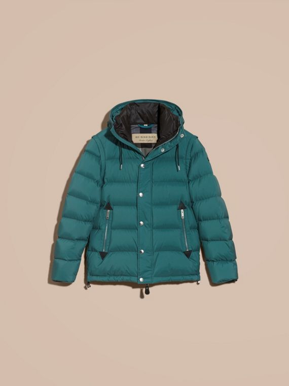 Down-filled Hooded Jacket with Detachable Sleeves in Dusty Teal - cell image 3