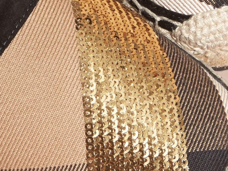 House 格紋/金色 亮片皮革拼 House 格紋麻織涼鞋 格紋/金色 - cell image 1