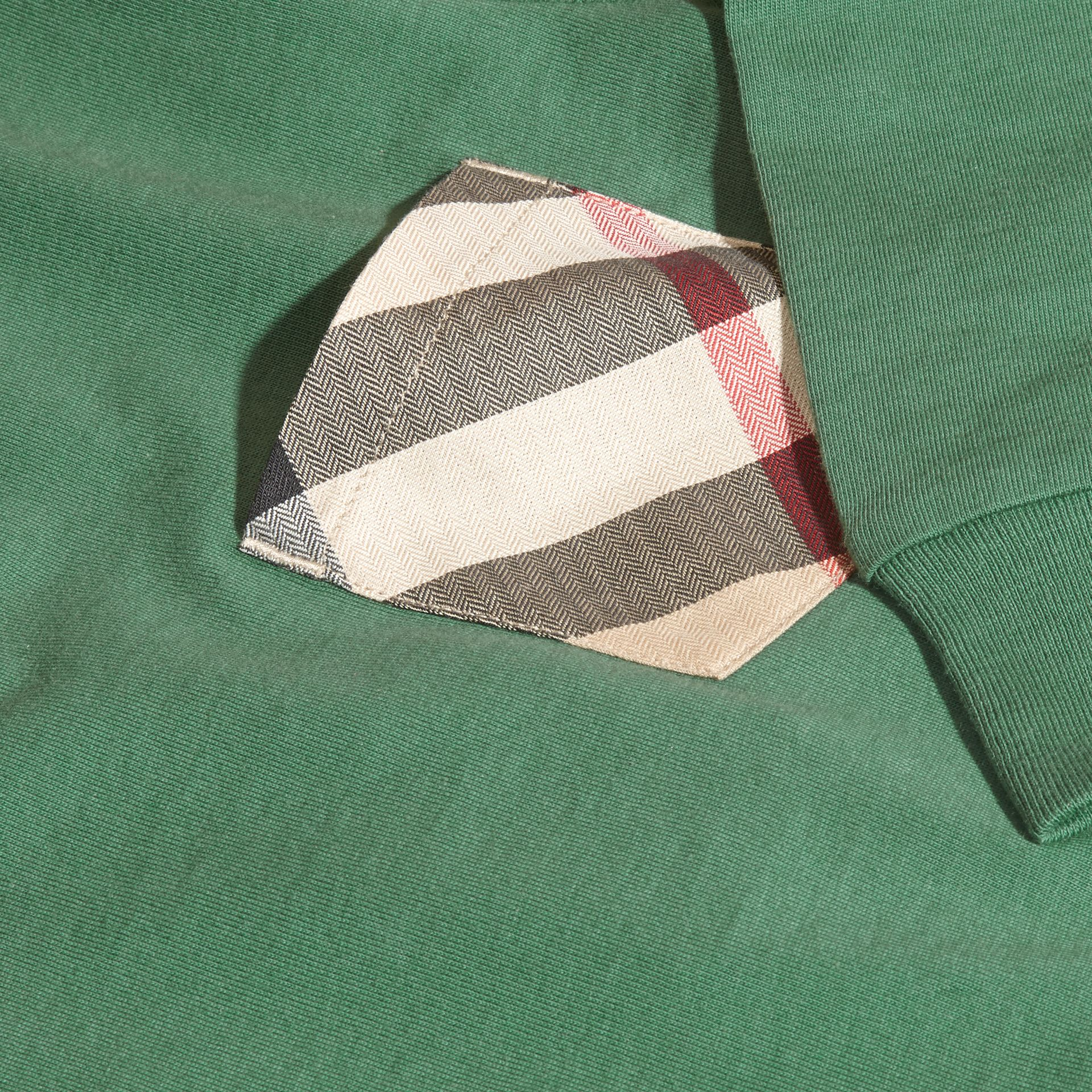 Forest green Check Pocket Cotton Jersey Top Forest Green - gallery image 2