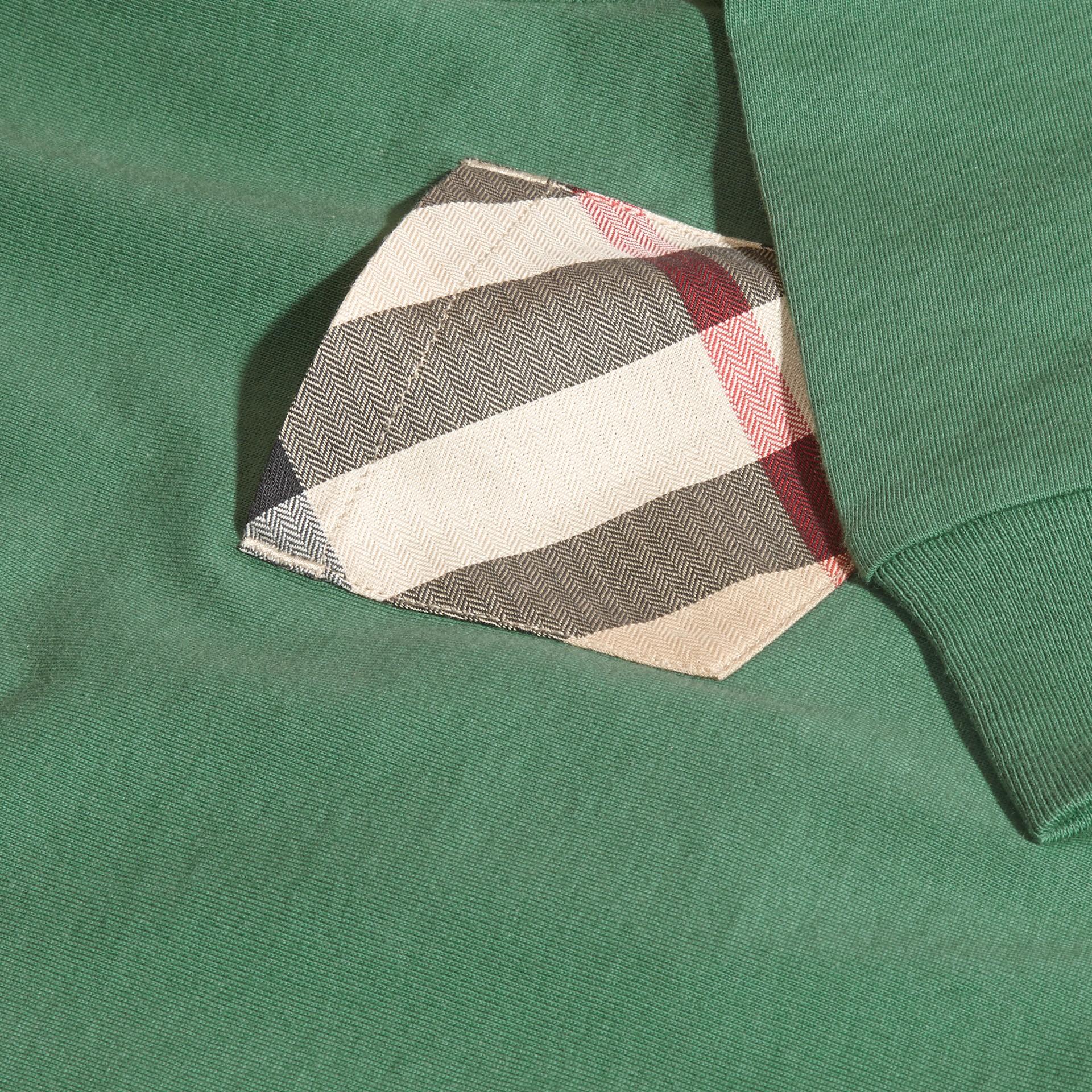 Vert forêt Haut en jersey de coton avec poche à motif check Vert Forêt - photo de la galerie 2