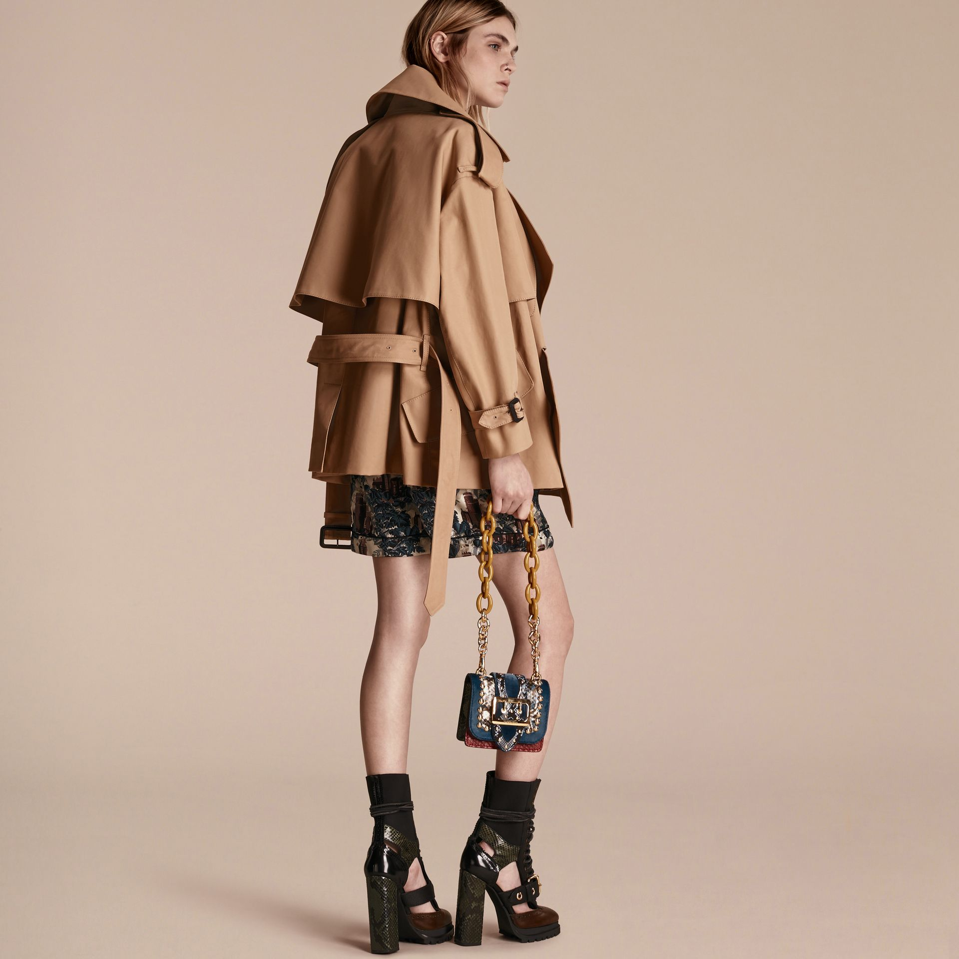 Cotton Gabardine Deconstructed Cropped Trench Coat - Women | Burberry - gallery image 3