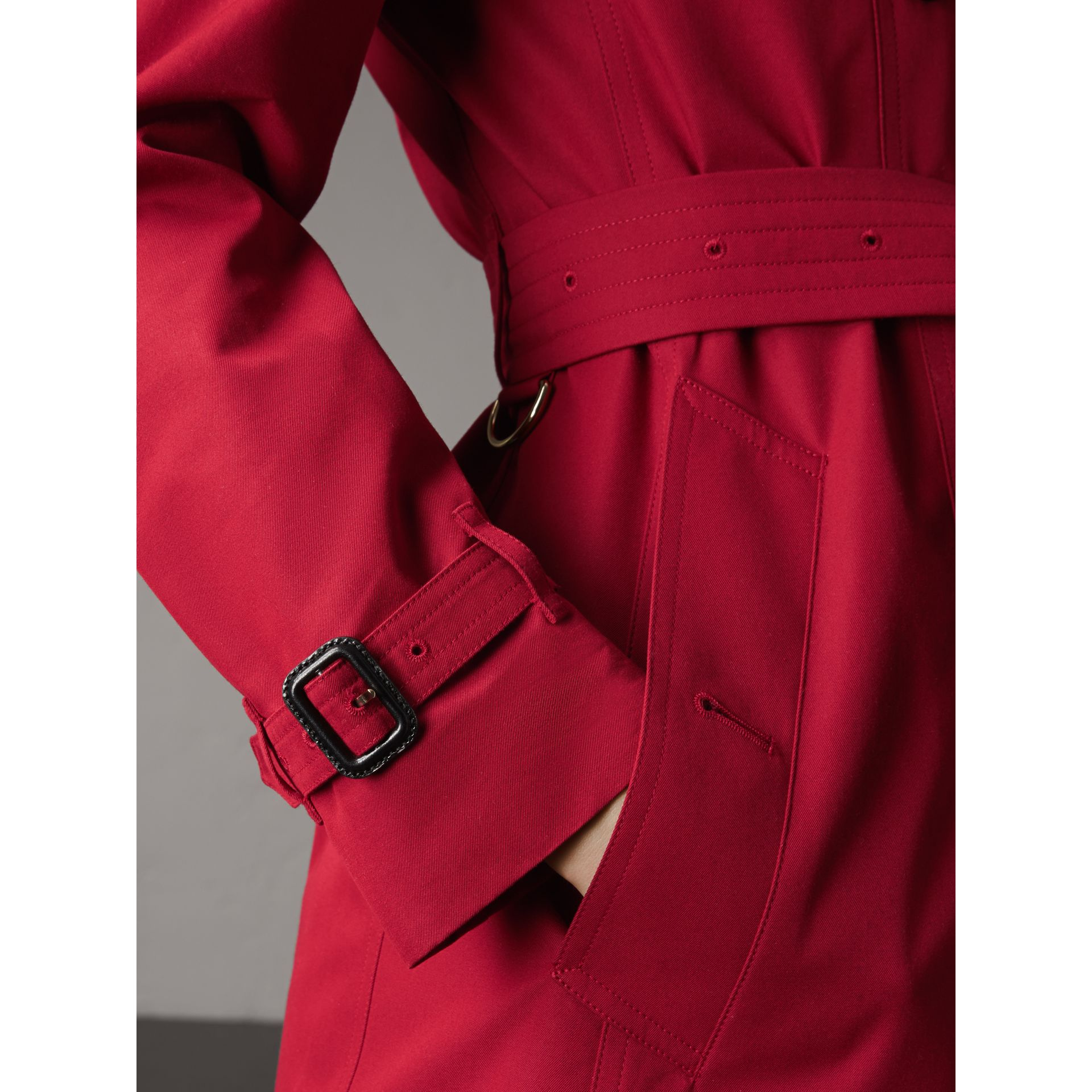 Leather Trim Cotton Gabardine Trench Coat in Parade Red - Women | Burberry Singapore - gallery image 6