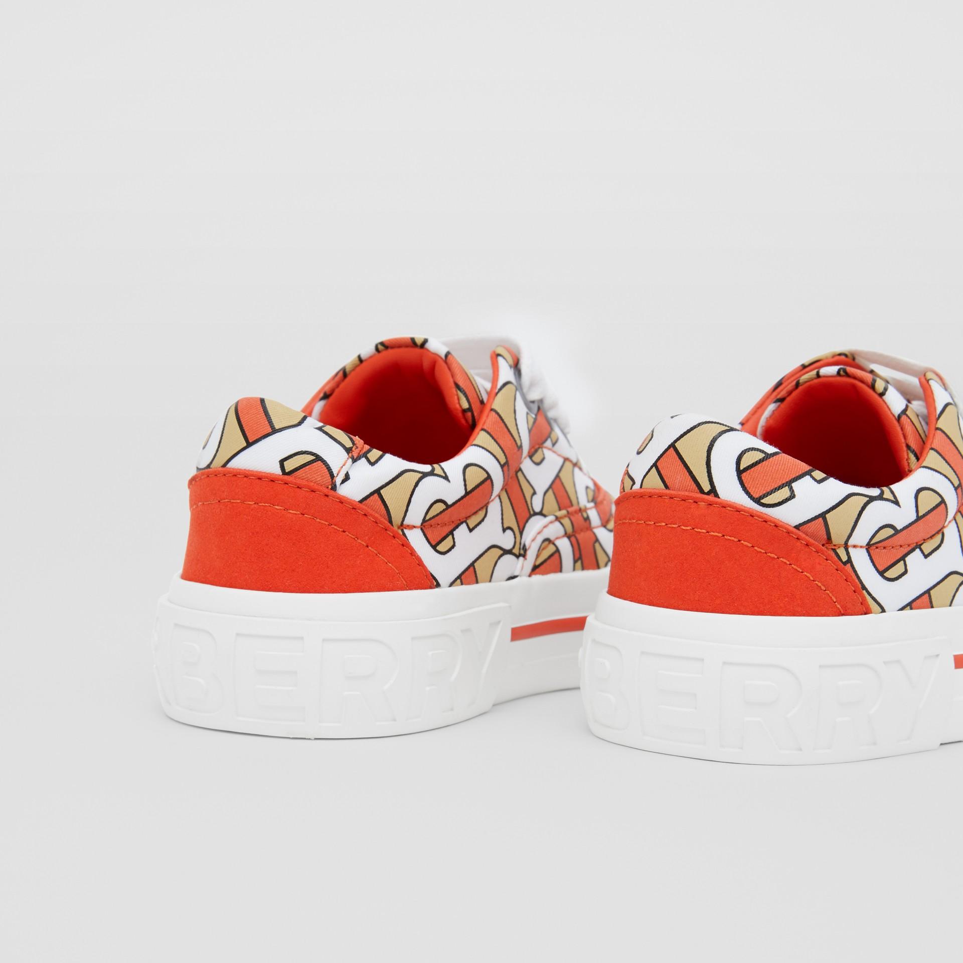 Monogram Print Cotton Gabardine Sneakers in Vermilion - Children | Burberry United States - gallery image 1