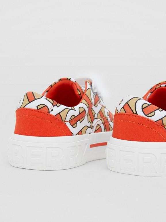 Monogram Print Cotton Gabardine Sneakers in Vermilion - Children | Burberry United States - cell image 1