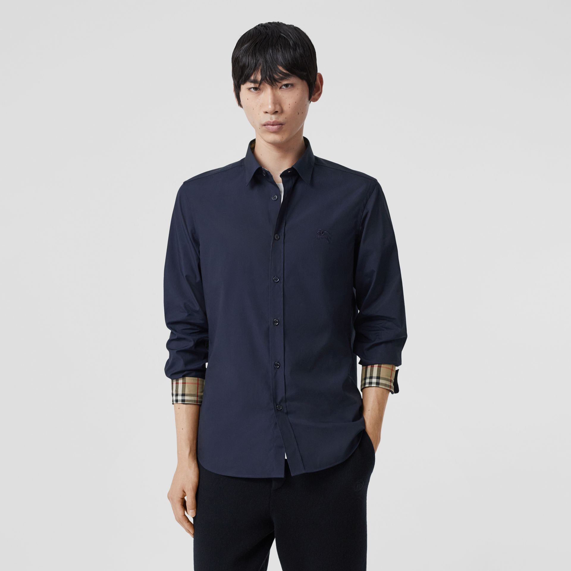 Slim Fit Embroidered EKD Stretch Cotton Shirt in Navy - Men | Burberry - gallery image 5