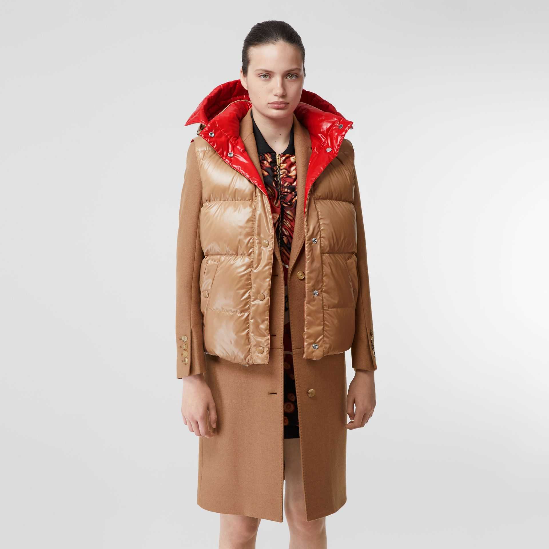 Camel Hair Tailored Coat with Detachable Gilet in Bronze - Women | Burberry - gallery image 4