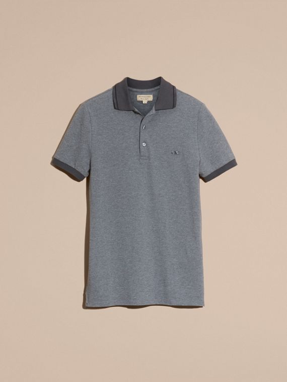 Mid grey melange Contrast Trim Cotton Piqué Polo Shirt Mid Grey Melange - cell image 3