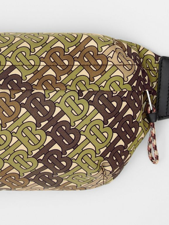 Medium Monogram Print Bum Bag in Khaki Green | Burberry - cell image 1
