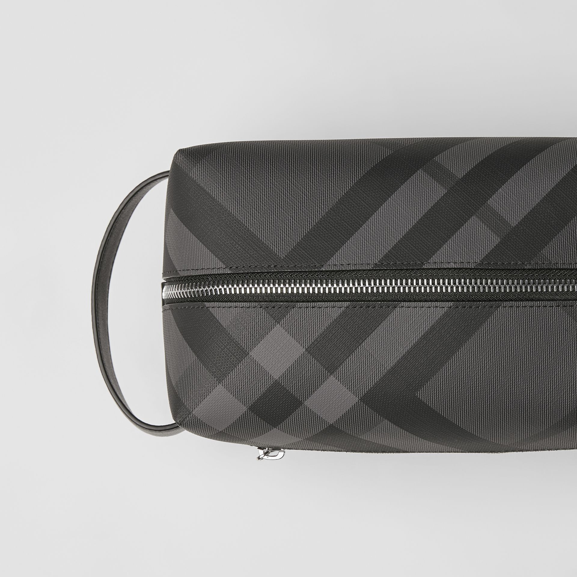 London Check and Leather Pouch in Charcoal/black - Men | Burberry Australia - gallery image 1