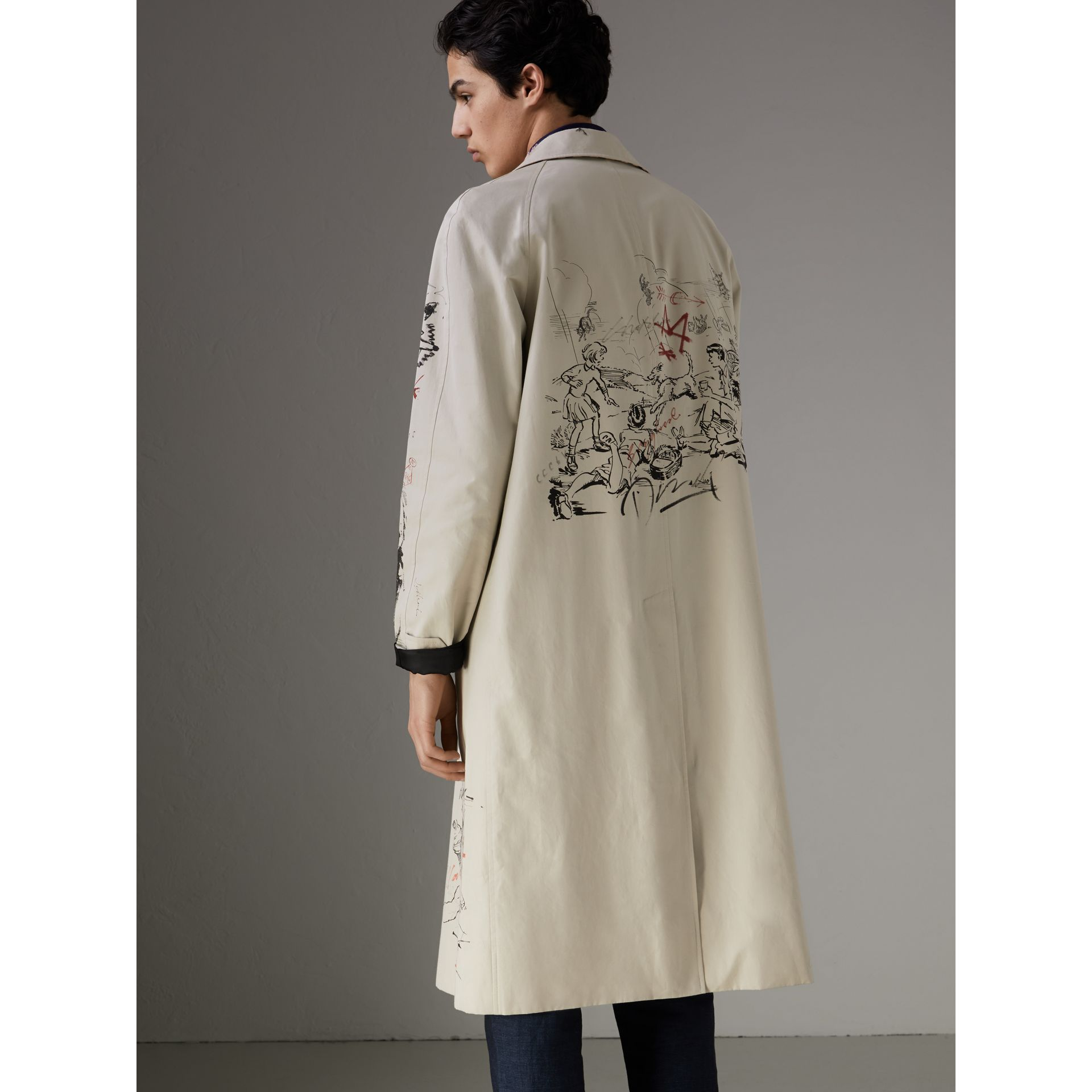 Sketch Print Car Coat in Stone - Men | Burberry Singapore - gallery image 2