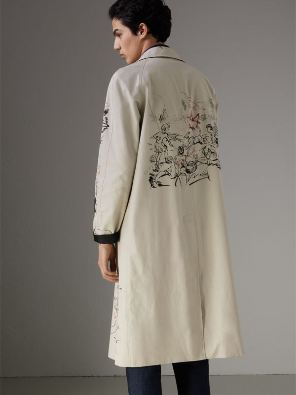 Sketch Print Car Coat in Stone - Men | Burberry - cell image 2