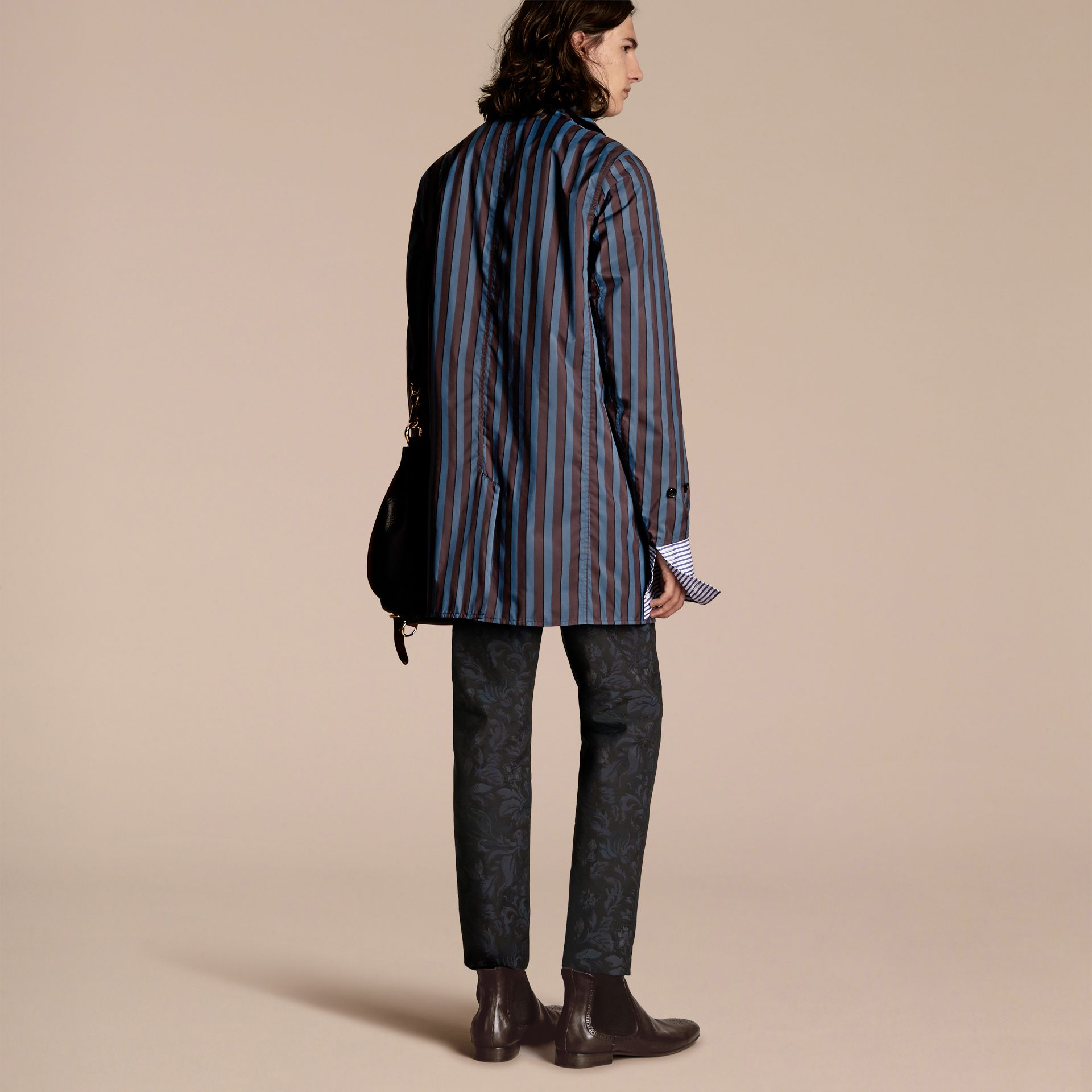 Navy Reversible Pyjama Stripe Print Car Coat - gallery image 7