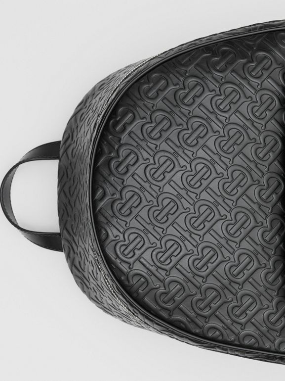 Monogram Leather Backpack in Black - Men | Burberry - cell image 1