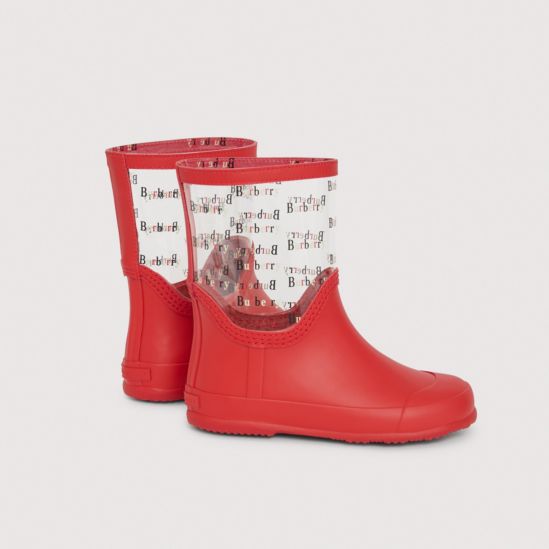 Logo Print Rubber Rain Boots in Bright Red | Burberry - gallery image 2