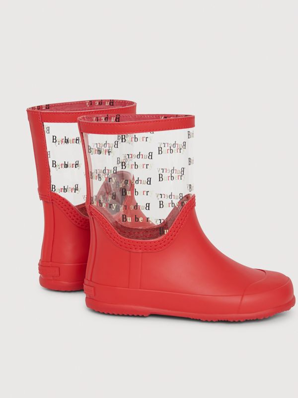Logo Print Rubber Rain Boots in Bright Red | Burberry - cell image 2