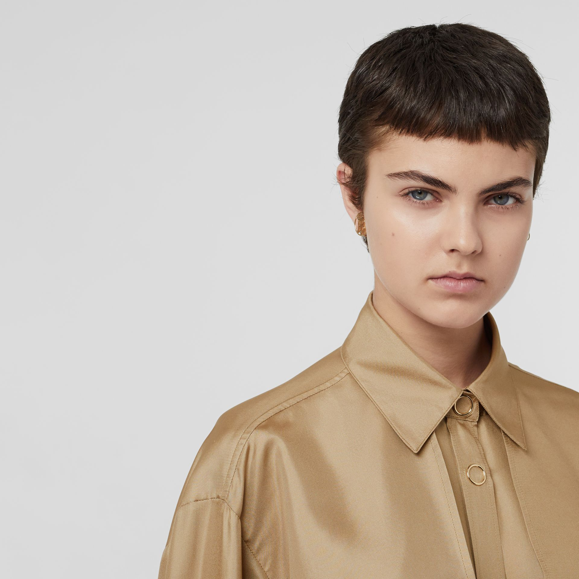 Cape Detail Silk Oversized Shirt in Honey - Women | Burberry - gallery image 1