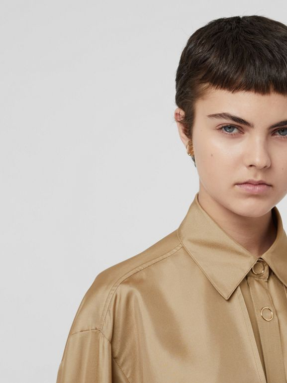 Cape Detail Silk Oversized Shirt in Honey - Women | Burberry - cell image 1