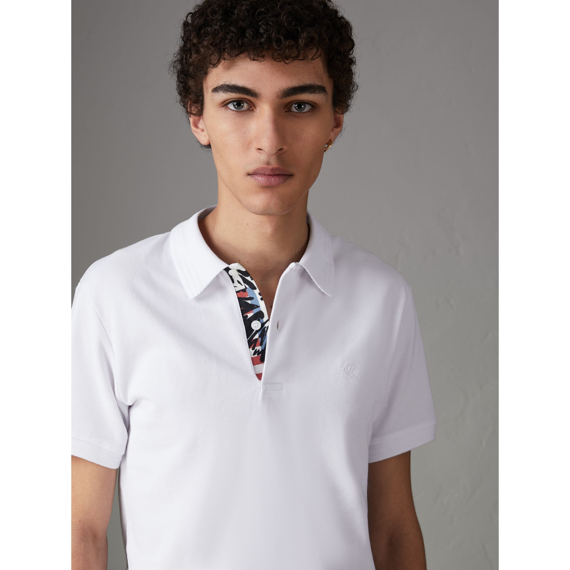 Print Trim Cotton Piqué Polo Shirt in White - Men | Burberry - gallery image 0