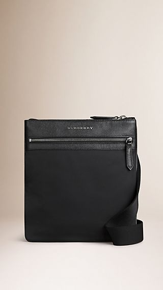 Slim Crossbody Bag with Leather Trim