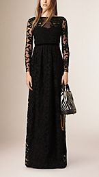 Floral Lace Sheer Panel Gown