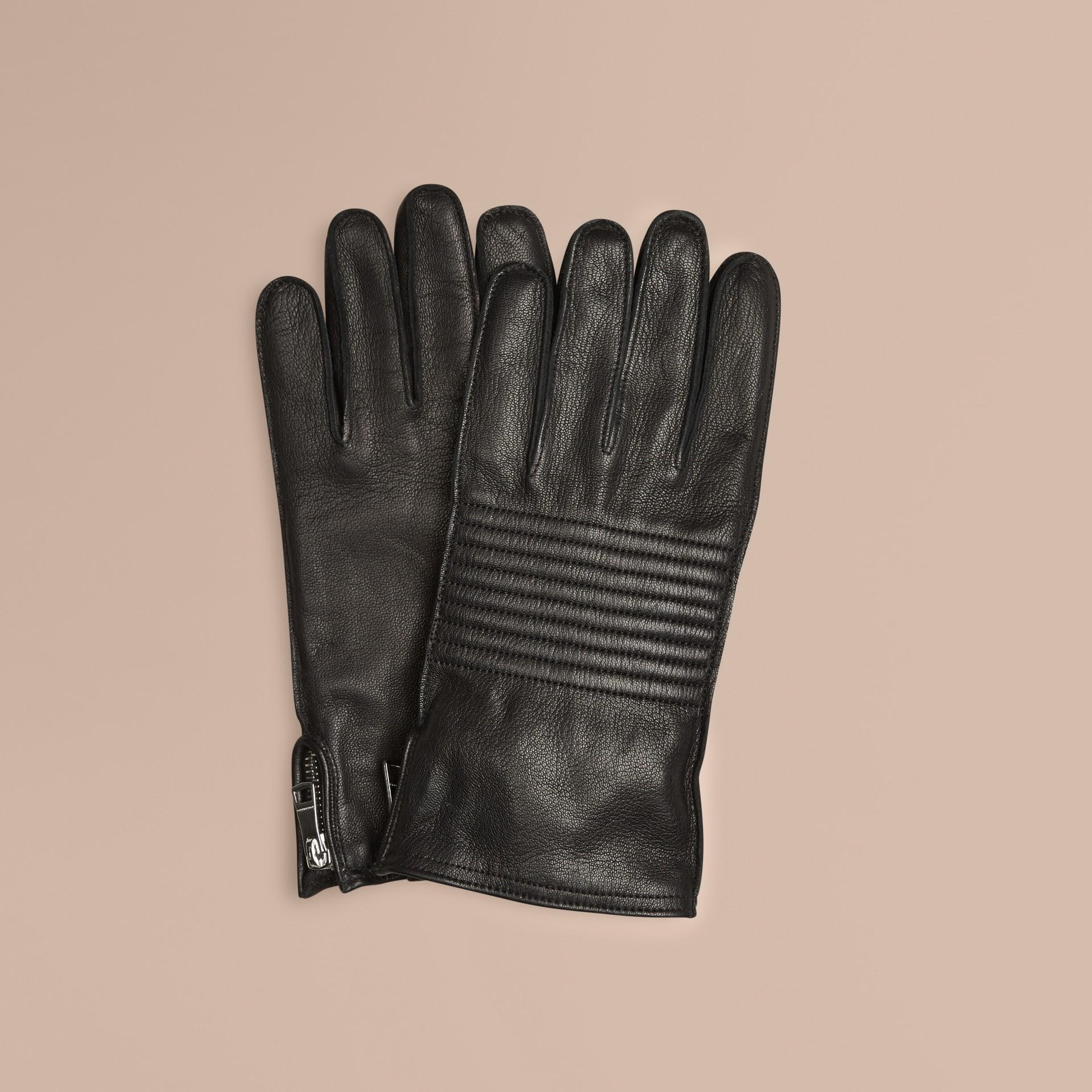 Negro Guantes en piel de estilo motero - imagen de la galería 1