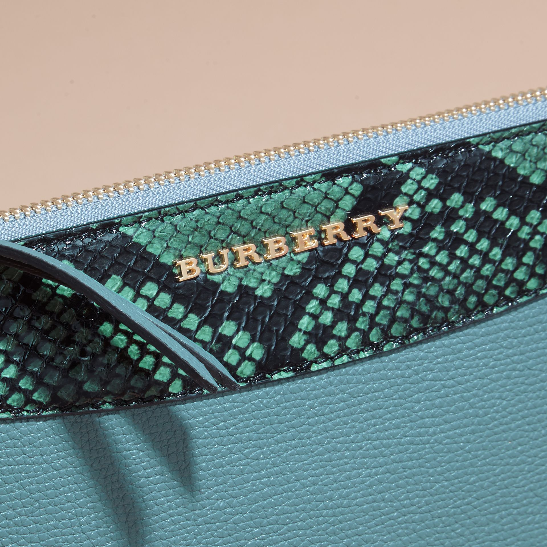 Celadon blue Leather and Snakeskin Clutch Bag Celadon Blue - gallery image 2