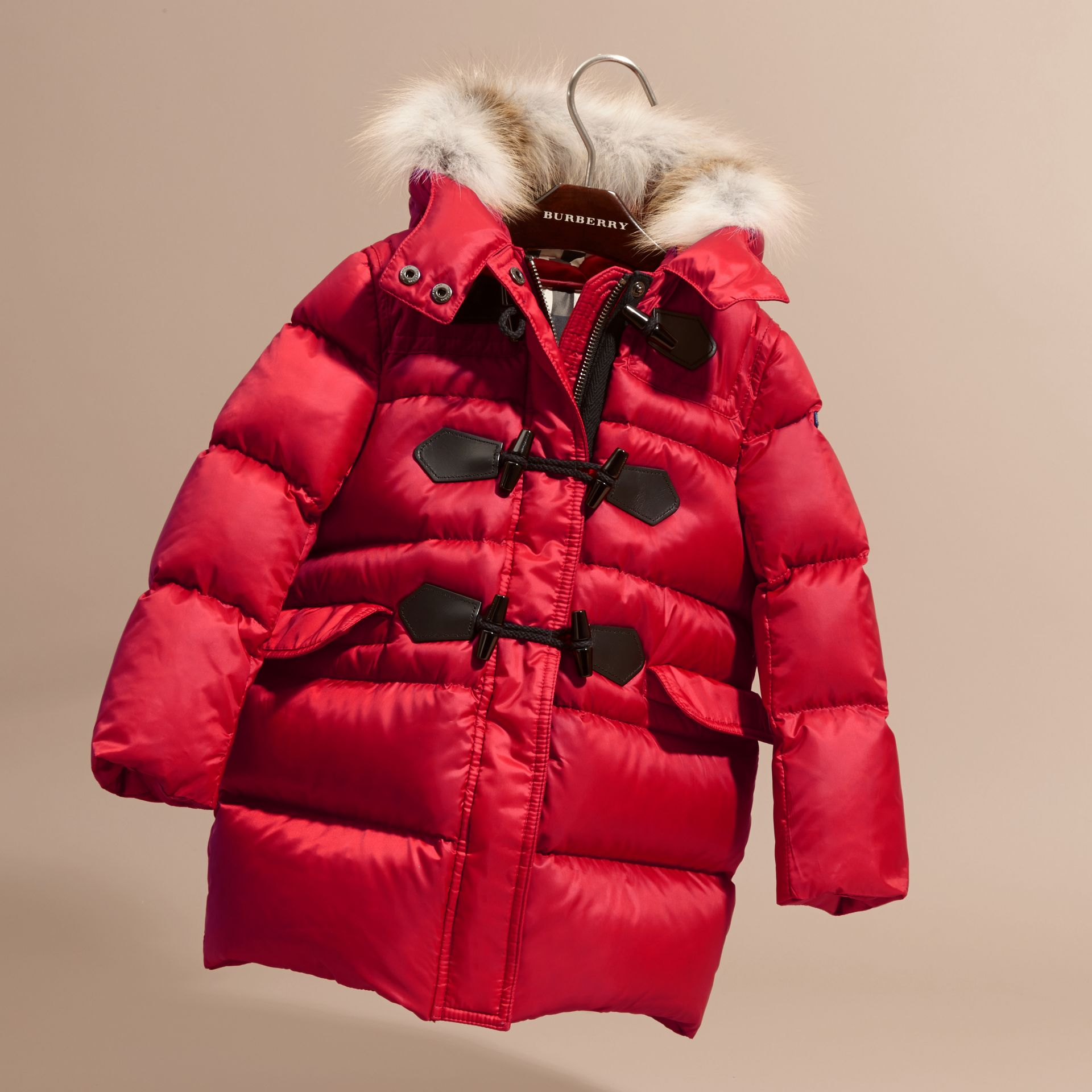 Parade red Down-filled Hooded Coat with Detachable Fox Fur Trim - gallery image 3