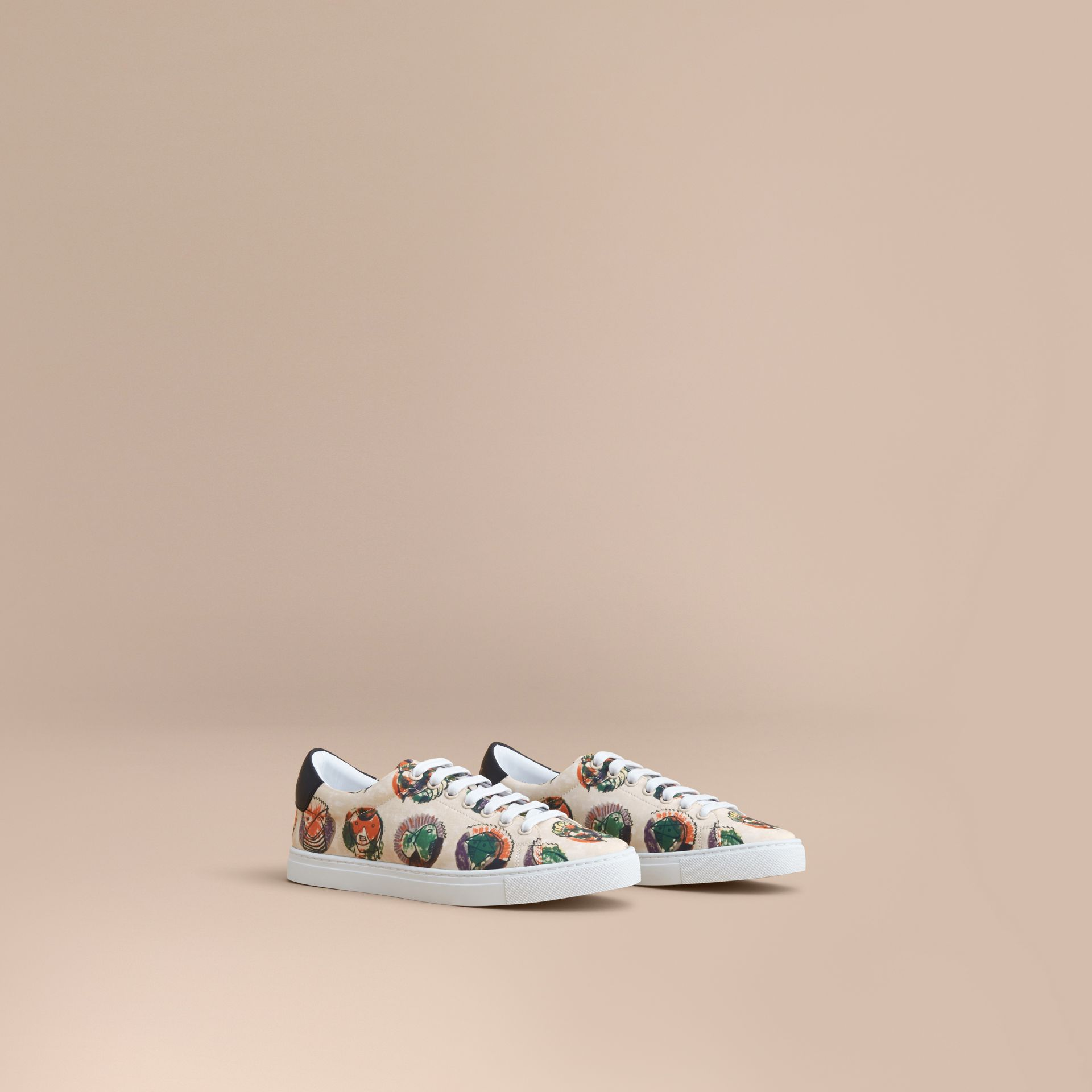 Pallas Heads Print Cotton Leather Trainers in Natural White - Men | Burberry - gallery image 1