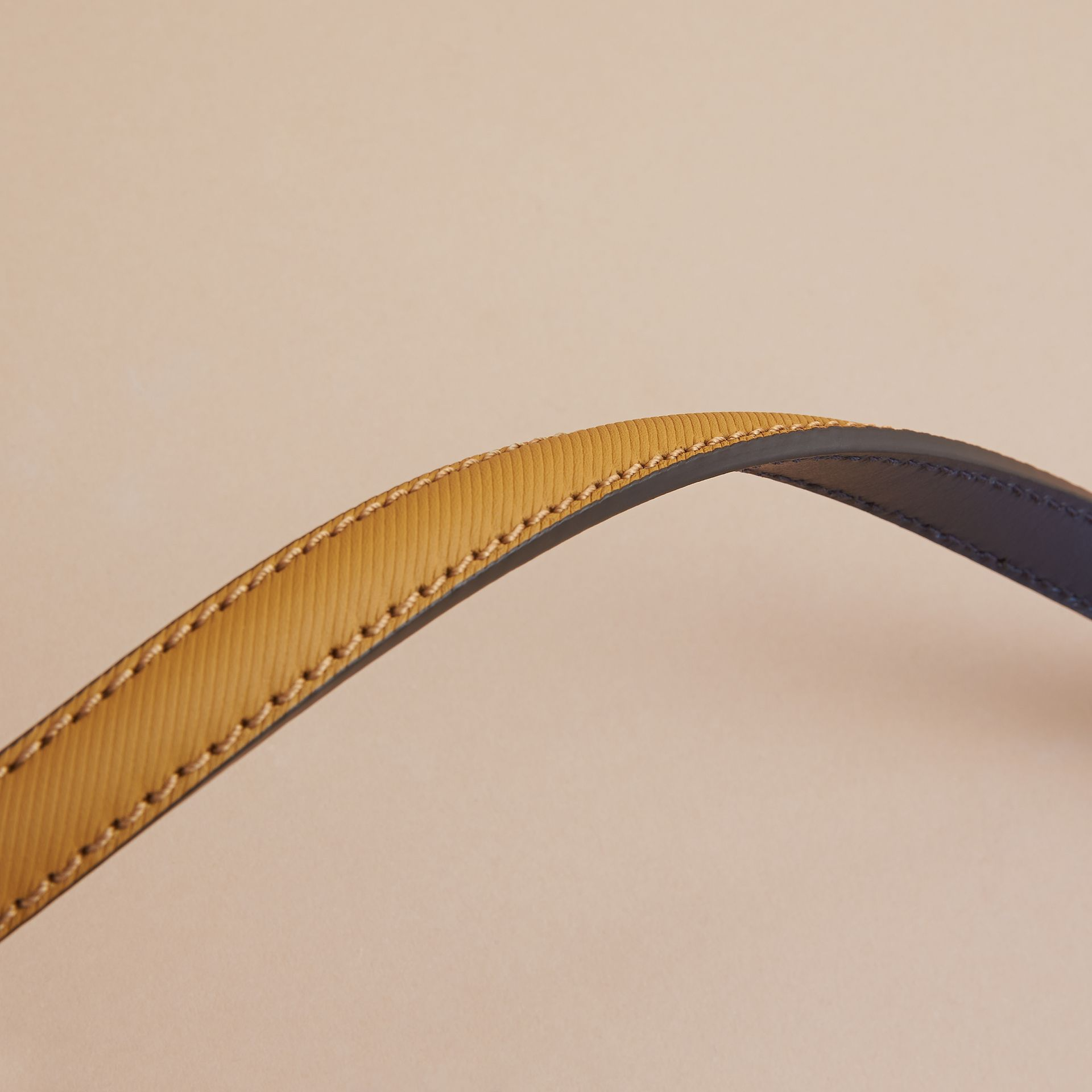 Two-tone Trench Leather Belt Ochre Yellow / Ink Blue - gallery image 3