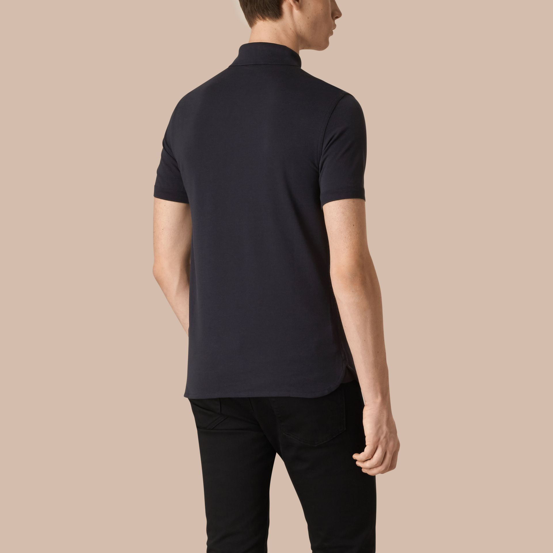 Dark navy Silk Cotton Polo Shirt Dark Navy - gallery image 3