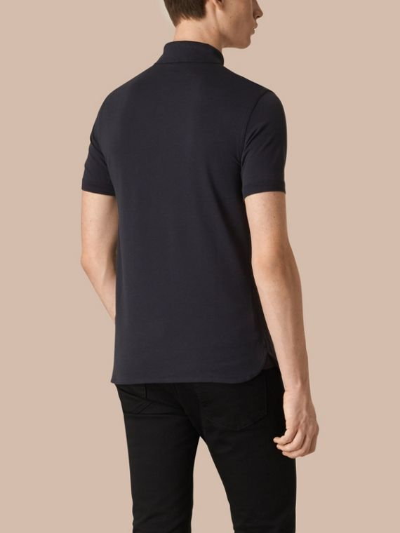 Dark navy Silk Cotton Polo Shirt Dark Navy - cell image 2