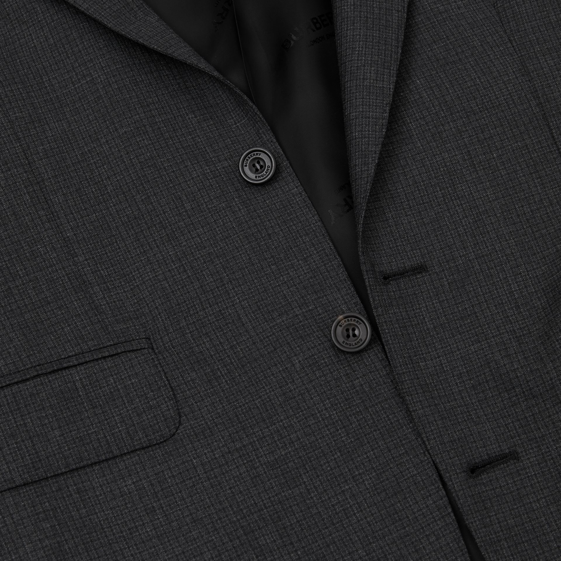 Classic Fit Windowpane Check Wool Three-piece Suit in Charcoal - Men | Burberry - gallery image 9