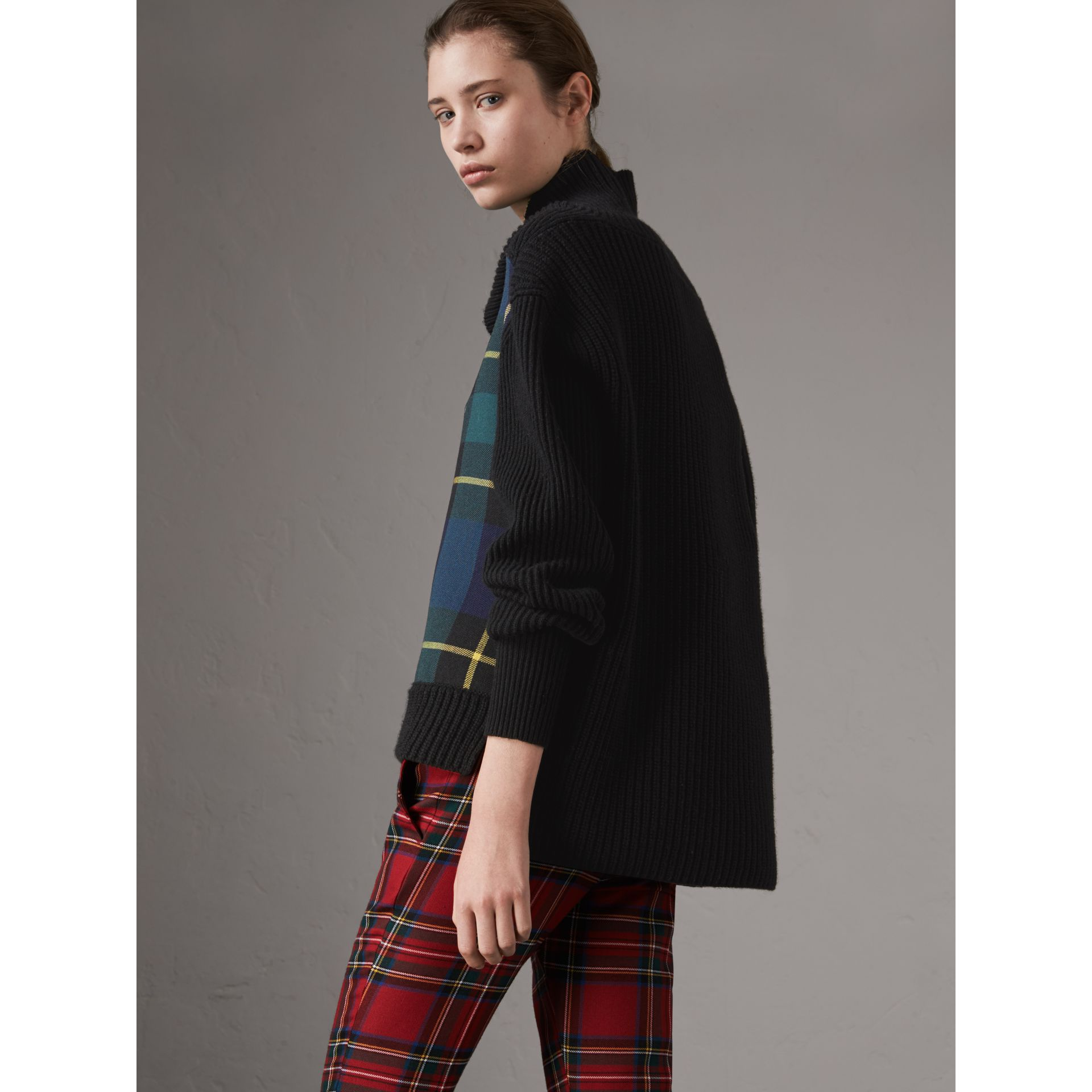 Tartan Panel Wool Cashmere Roll-neck Sweater in Black - Women | Burberry - gallery image 2