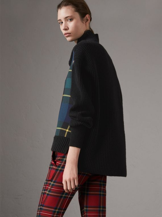 Tartan Panel Wool Cashmere Turtleneck Sweater in Black - Women | Burberry - cell image 2