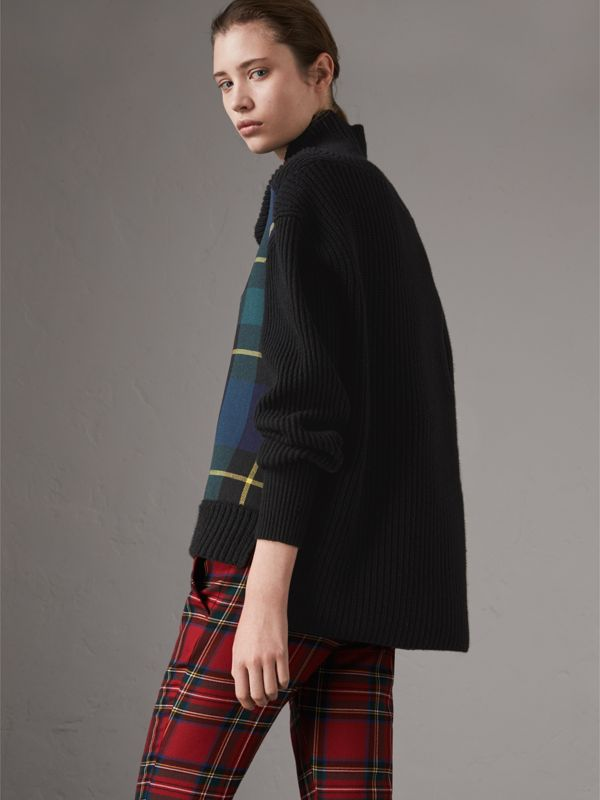 Tartan Panel Wool Cashmere Roll-neck Sweater in Black - Women | Burberry - cell image 2